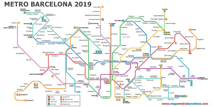 Mapa do metro de barcelona - 2019